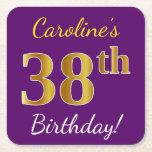 [ Thumbnail: Purple, Faux Gold 38th Birthday + Custom Name Paper Coaster ]