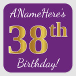 [ Thumbnail: Purple, Faux Gold 38th Birthday + Custom Name Sticker ]