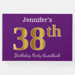 [ Thumbnail: Purple, Faux Gold 38th Birthday Party; Custom Name Guest Book ]