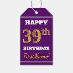 [ Thumbnail: Purple, Faux Gold 39th Birthday + Custom Name Gift Tags ]