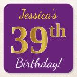 [ Thumbnail: Purple, Faux Gold 39th Birthday + Custom Name Paper Coaster ]