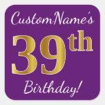 [ Thumbnail: Purple, Faux Gold 39th Birthday + Custom Name Sticker ]