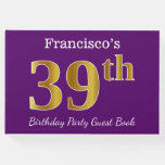 [ Thumbnail: Purple, Faux Gold 39th Birthday Party; Custom Name Guest Book ]