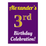 [ Thumbnail: Purple, Faux Gold 3rd Birthday Celebration + Name Invitation ]