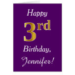 [ Thumbnail: Purple, Faux Gold 3rd Birthday + Custom Name ]
