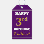 [ Thumbnail: Purple, Faux Gold 3rd Birthday + Custom Name Gift Tags ]