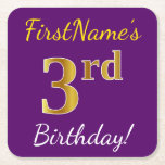 [ Thumbnail: Purple, Faux Gold 3rd Birthday + Custom Name Paper Coaster ]