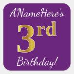 [ Thumbnail: Purple, Faux Gold 3rd Birthday + Custom Name Sticker ]