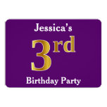 [ Thumbnail: Purple, Faux Gold 3rd Birthday Party + Custom Name Invitation ]