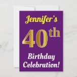 [ Thumbnail: Purple, Faux Gold 40th Birthday Celebration + Name Invitation ]