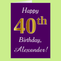 Purple, Faux Gold 40th Birthday   Custom Name Card