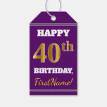 [ Thumbnail: Purple, Faux Gold 40th Birthday + Custom Name Gift Tags ]