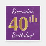 [ Thumbnail: Purple, Faux Gold 40th Birthday + Custom Name Paper Napkin ]
