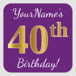 [ Thumbnail: Purple, Faux Gold 40th Birthday + Custom Name Sticker ]