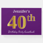 [ Thumbnail: Purple, Faux Gold 40th Birthday Party; Custom Name Guest Book ]