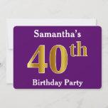 [ Thumbnail: Purple, Faux Gold 40th Birthday Party; Custom Name Invitation ]