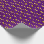 [ Thumbnail: Purple, Faux Gold 40th (Fortieth) Event Wrapping Paper ]