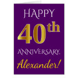 [ Thumbnail: Purple, Faux Gold 40th Wedding Anniversary + Name ]