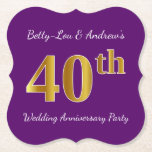 [ Thumbnail: Purple, Faux Gold 40th Wedding Anniversary Party Paper Coaster ]