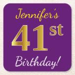 [ Thumbnail: Purple, Faux Gold 41st Birthday + Custom Name Paper Coaster ]