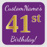 [ Thumbnail: Purple, Faux Gold 41st Birthday + Custom Name Sticker ]