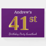 [ Thumbnail: Purple, Faux Gold 41st Birthday Party; Custom Name Guest Book ]