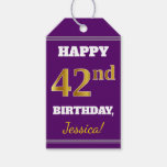 [ Thumbnail: Purple, Faux Gold 42nd Birthday + Custom Name Gift Tags ]