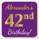 [ Thumbnail: Purple, Faux Gold 42nd Birthday + Custom Name Paper Coaster ]