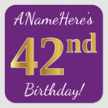 [ Thumbnail: Purple, Faux Gold 42nd Birthday + Custom Name Sticker ]