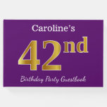 [ Thumbnail: Purple, Faux Gold 42nd Birthday Party; Custom Name Guest Book ]