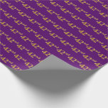 [ Thumbnail: Purple, Faux Gold 42nd (Forty-Second) Event Wrapping Paper ]