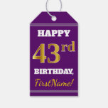 [ Thumbnail: Purple, Faux Gold 43rd Birthday + Custom Name Gift Tags ]