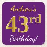 [ Thumbnail: Purple, Faux Gold 43rd Birthday + Custom Name Paper Coaster ]