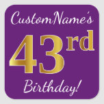 [ Thumbnail: Purple, Faux Gold 43rd Birthday + Custom Name Sticker ]