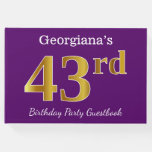 [ Thumbnail: Purple, Faux Gold 43rd Birthday Party; Custom Name Guest Book ]