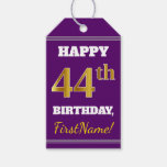 [ Thumbnail: Purple, Faux Gold 44th Birthday + Custom Name Gift Tags ]
