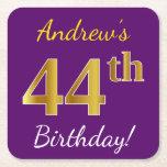 [ Thumbnail: Purple, Faux Gold 44th Birthday + Custom Name Paper Coaster ]