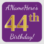 [ Thumbnail: Purple, Faux Gold 44th Birthday + Custom Name Sticker ]