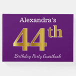 [ Thumbnail: Purple, Faux Gold 44th Birthday Party; Custom Name Guest Book ]