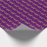 [ Thumbnail: Purple, Faux Gold 44th (Forty-Fourth) Event Wrapping Paper ]
