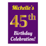 [ Thumbnail: Purple, Faux Gold 45th Birthday Celebration + Name Invitation ]