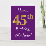 [ Thumbnail: Purple, Faux Gold 45th Birthday + Custom Name Card ]