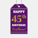 [ Thumbnail: Purple, Faux Gold 45th Birthday + Custom Name Gift Tags ]