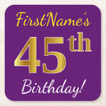 [ Thumbnail: Purple, Faux Gold 45th Birthday + Custom Name Paper Coaster ]
