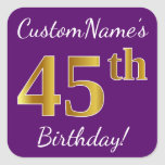 [ Thumbnail: Purple, Faux Gold 45th Birthday + Custom Name Sticker ]
