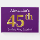 [ Thumbnail: Purple, Faux Gold 45th Birthday Party; Custom Name Guest Book ]
