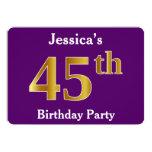 [ Thumbnail: Purple, Faux Gold 45th Birthday Party; Custom Name Invitation ]