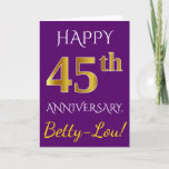 [ Thumbnail: Purple, Faux Gold 45th Wedding Anniversary + Name Card ]