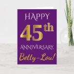 [ Thumbnail: Purple, Faux Gold 45th Wedding Anniversary + Name Card ]