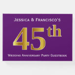[ Thumbnail: Purple, Faux Gold 45th Wedding Anniversary Party Guest Book ]